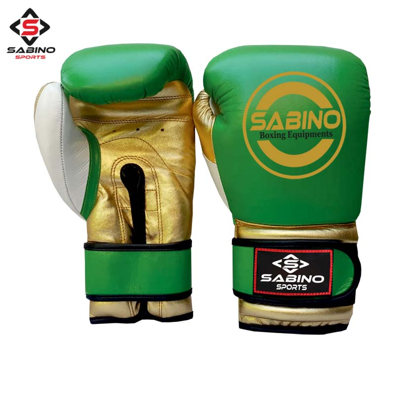 GREEN,GOLD BOXING GLOVES