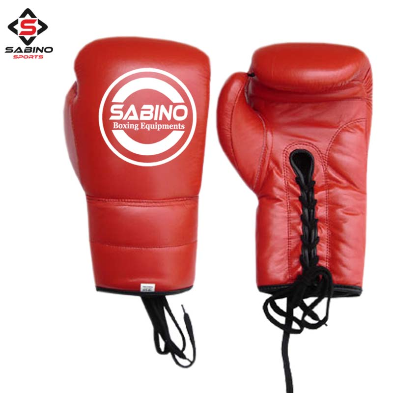 RED LACE UP BOXING GLOVES
