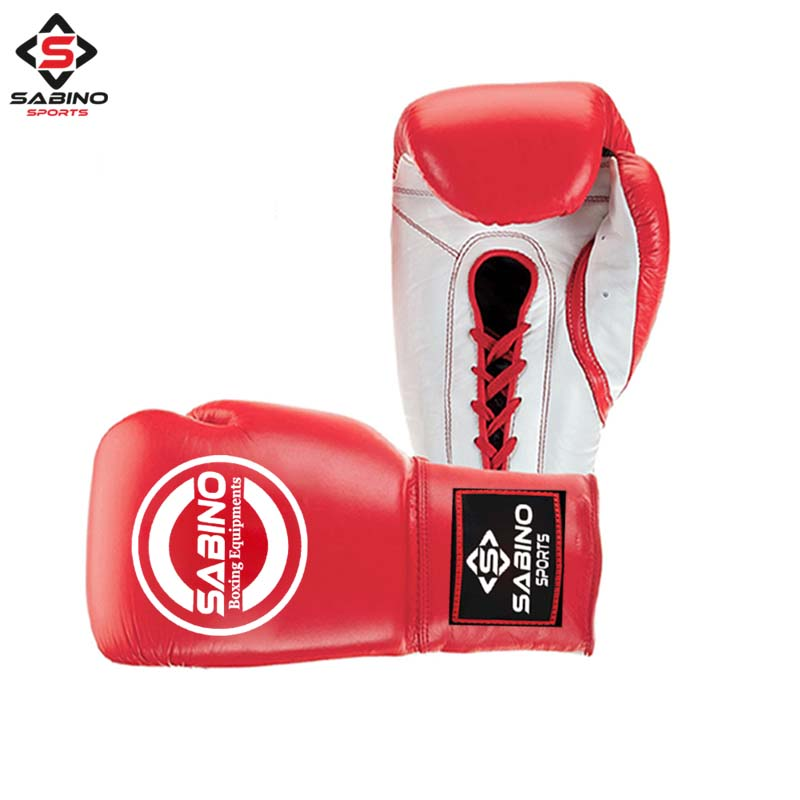 LEATHER BOXING GLOVES RED-WHITE