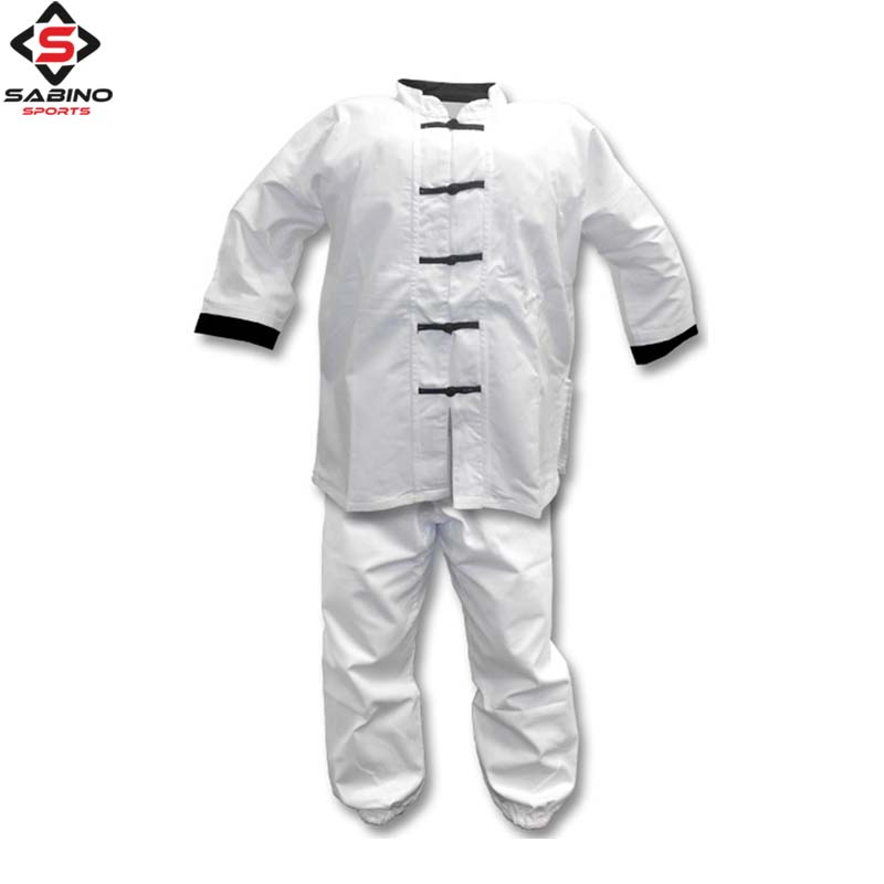 White Kung Fu Uniform with Black Frog Buttons